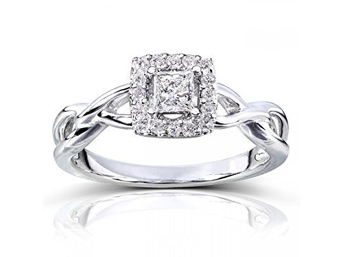 0.58 Carat Halo Affordable Engagement Ring with Princess cut Diamond on 14K White gold