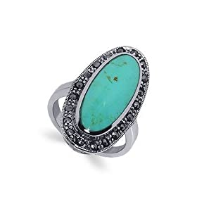 .925 Sterling Silver Marcasite Band Reconstituted Turquoise Ring