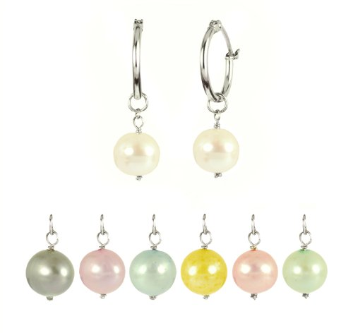 7 Interchangeable Freshwater Cultured Pearl, Spring Colors Earrings Set