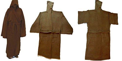Jedi Knight Robe Brown Senior With Tie Belt Replica Star Wars Costume, Master Fleece Bathrobe Best Gift for Men