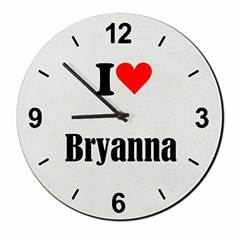"""Regali Esclusivi: Orologi da parete """"I Love Bryanna"""", un Grande regalo viene dal Cuore - Ti amo - Orologio vetro - Punte di Natale"""