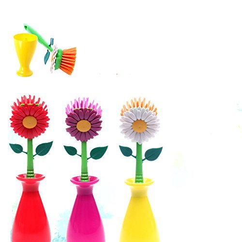 Wed2BB Flower Design Non-Scratching Nylon Dish Brush With Vase Holder - Random Color (Flower Kitchen compare prices)