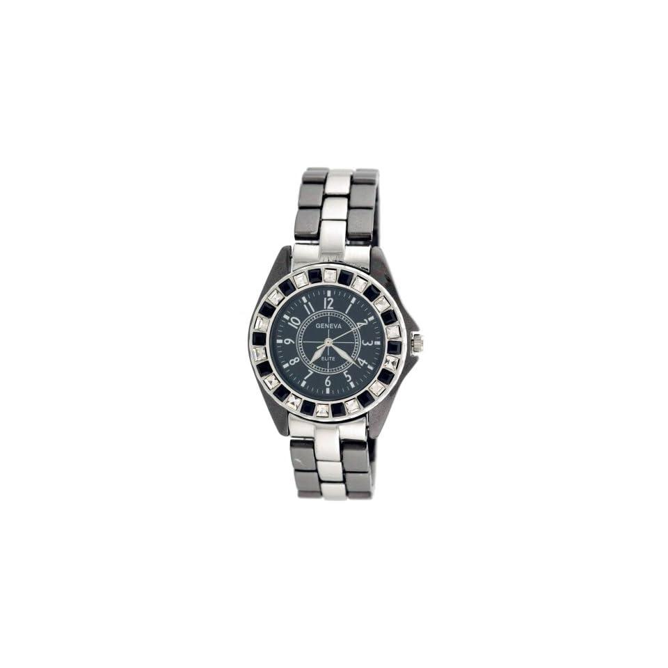 Geneva Elite Mens Iced Out Baquette Diamond Bezel Watch Model 2473