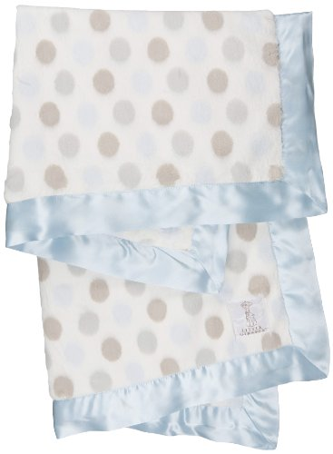 "Little Giraffe Luxe Dot Blanket, 29"" x 35"", Blue"