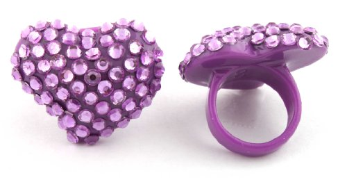 Purple Iced Out Heart Shaped Finger Ring Poparazzi