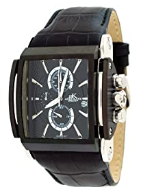 Adee Kaye #AK9294-MIPB Men's Black IP Curved Crystal Leather Band Chronograph Watch