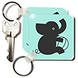 3dRose LLC 8 x 8 x 025 Silhouette of Baby Elephant and Toy Key Chains set of 2 kc1725741