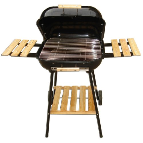 Charcoal Barbecue Grill with Wheels, Barbecue Kit, Temperature Gauge - Black.
