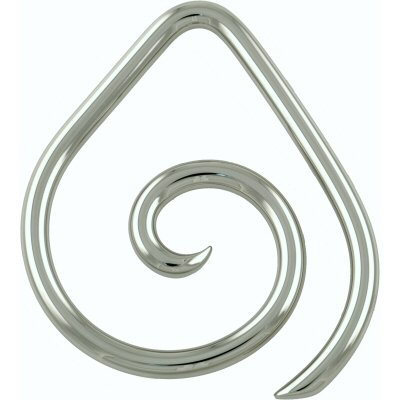 One Stainless Steel Teardrop Spiral: 6g Medium (SOLD INDIVIDUALLY. ORDER TWO FOR A PAIR.)