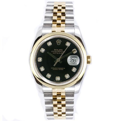 Rolex Mens New Style Heavy Band Stainless Steel & 18K Gold Datejust Model 116203 Jubilee Band Smooth Bezel Black Diamond Dial