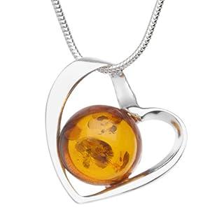 In Collections - 241A200240890 - Collier avec pendentif Femme - Coeur - Argent 925/1000 - ambre