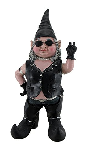 Gnofun Biker Babe Giving Peace Sign Biker Lady Garden Gnome Statue