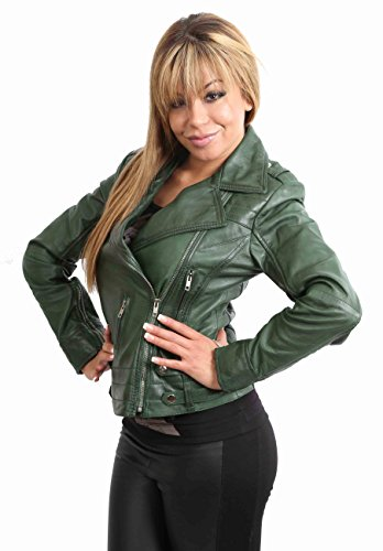 NEW Womens Biker Leather Jacket Ladies Fitted Style Jade Black Green Red Tan (X LARGE, Green)