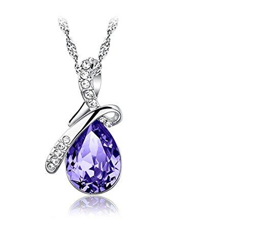 Women Classic Platinum-Plated Crystal Drop Pendant Necklace Jewelry Purple (Angel Tears)