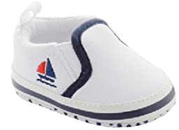 White Slip on Shoes with Sailboat Embroidery 0-3 Months (3.2\