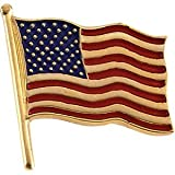 14K Yellow Gold American Flag Lapel Pin