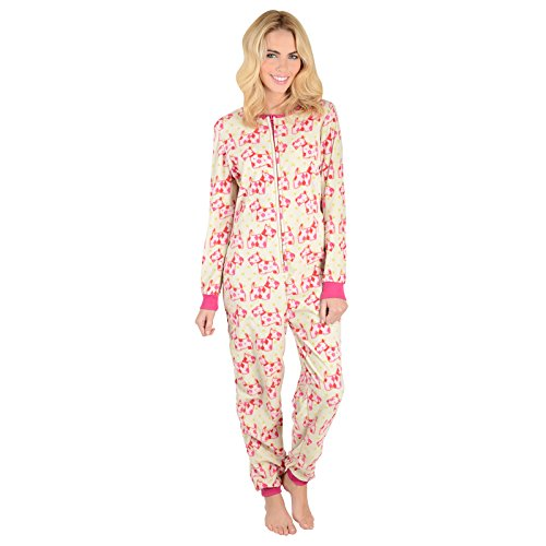 Ladies Scotty Dogs Fleece All In One Piece Pyjamas Onesie PJs Nightwear - S