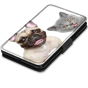 Chiens 10007, Chien et Chat, Etui Personnalisé Coque Housse Cover Coquille en Cuir Noir avec l'Image Coloré pour Samsung Galaxy Note 2 N7100.