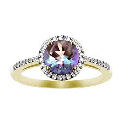 Lab Created Alexandrite and Diamond Ring 10k Yellow Gold