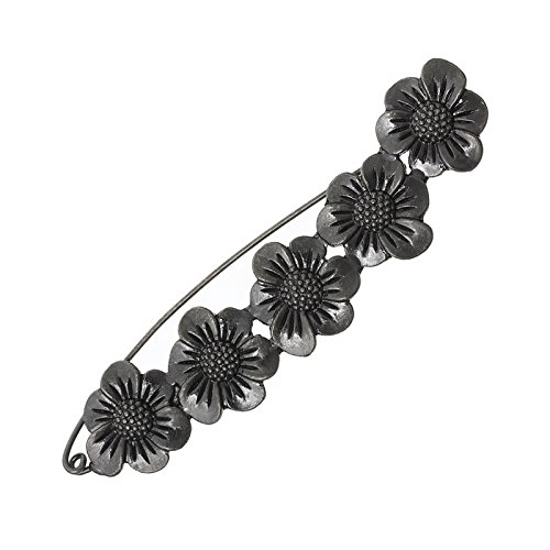 3Pcs Black Siver Tone Brooches Pins Retro Flower Dressmaking Jewelry 8.9X2.1Cm