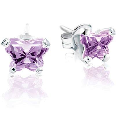 Jewelry Locker Bfly(tm) Sterling Silver and CZ June Birthstone Teen Earrings