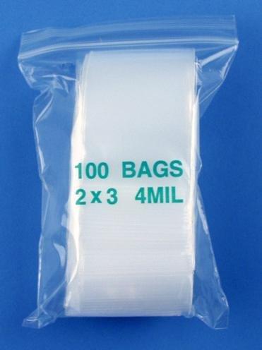 """Best Buy! 2"""" x 3"""" 4 Mil Clear Zip Lock Bags, Case of 1000"""