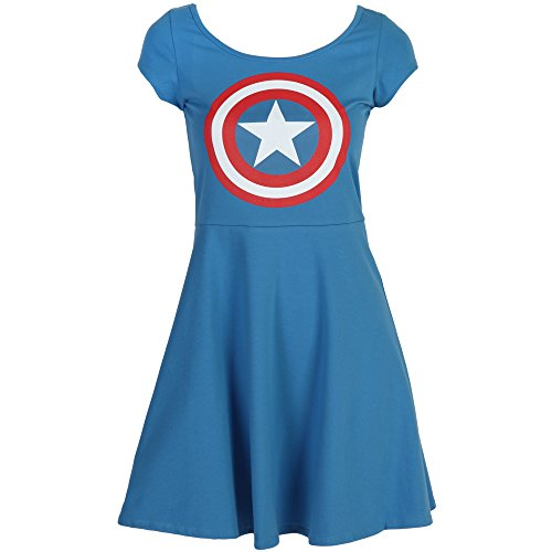 Captain America Cap-Sleeved Skater Dress (Large)
