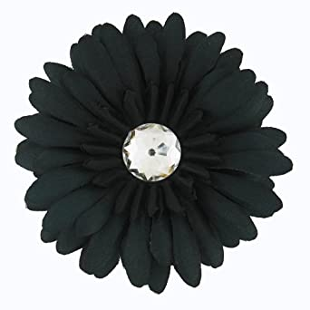 Large Gerber Daisy Flower Hair Clip Bow with Crystal Center for Infant Baby Toddler to Youth Girl- Black