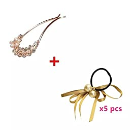 Sealive Pack of 5 Ribbon Pearl Hair ties Wholesale + U Shaped Rhiestone Crystal Hair Clip Pins