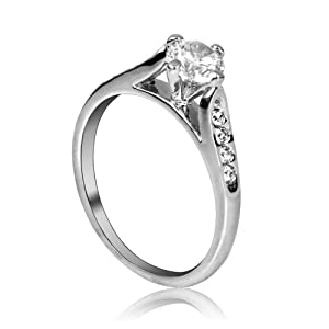 FASHION PLAZA Ring with Cubic Zirconia shoulders (Available In Sizes H K L N P R U) R21-K