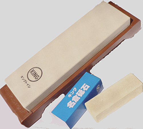 King Japanese Grit 6000 Sharpening Stone S-45/Ht-43 And King #8000 Nagura Stone : Bundle - 2 Items
