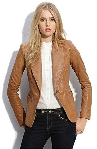Billy Austins Women's Sexy 1 Button Tan Leather Blazer Large