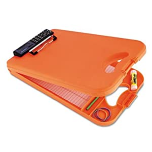 Saunders DeskMate II Plastic Storage Clipboard with Calculator, Letter Size 8.5 inch x 12 inch, Orange (00543)