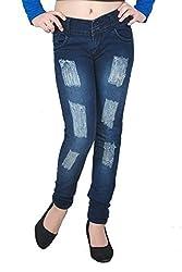 FNocks Casual Rugged Slim Fit Women Jeans (FREE 1 PAIR LADIES THUMB ANKLE LENGTH BEIGE COLOR SOCKS) (32)