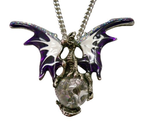 Purple Dragon with Crystal Ball Medieval Renaissance Pendant Necklace