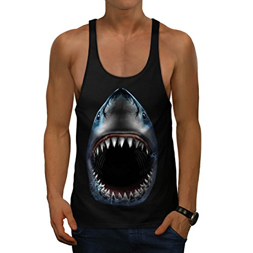 Shark Jaw Attack Sea Predator Men NEW S Gym Tank Top   Wellcoda (Gym Shark Tank Top compare prices)