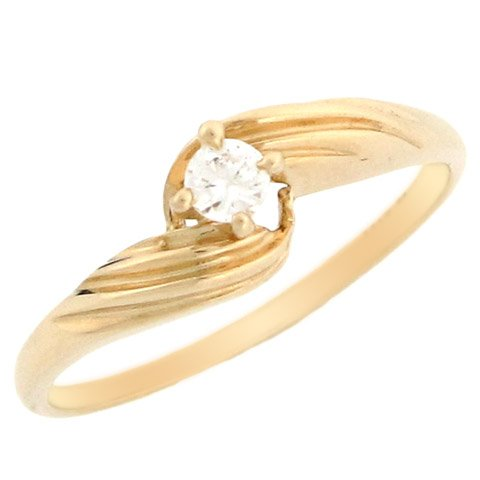 10k Yellow Gold Round CZ Solitaire Promise Ring With Twist Band Detail