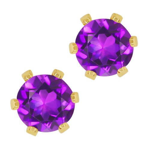 1.50 Ct Round Purple Amethyst Gold Plated 6 prong Stud Earrings 6mm