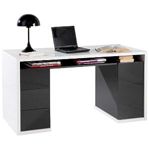 Scrivania ufficio laccato tre cassetti e anta bianco e - Emporio del mobile in kit ...
