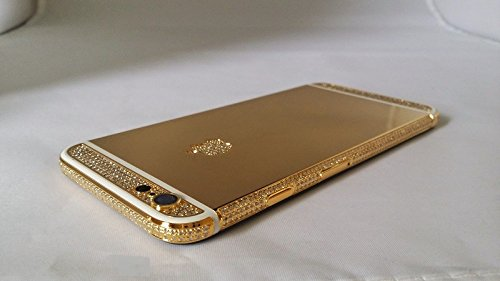 BS2U discount duty free Apple iPhone 6 - 64GB 24K Gold and White Stripe Plated Diamond Crystals Customized Phone/Factory Unlocked/International