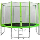 SixBros. Sixjump 3,70 M Trampoline de jardin vert Certifié par Intertek / GS Filet de sécurité - Échelle - Housse de protection - CST370/L1722