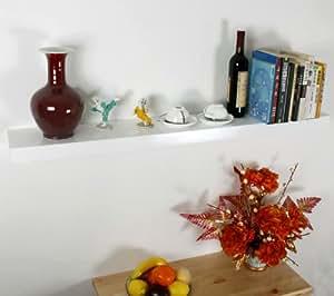 Wandregal, Bücherregal, Holzregal, Länger 120cm, weiß, FRG07-W