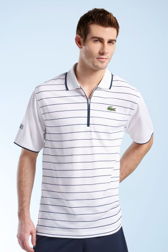Short Sleeve Tennis Super Dry Stripe Polo with Zip