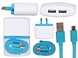 Stylabs Blue Universal Dual USB Wall Charger Power Adapter With Foldable USB Cable For All Smartphones