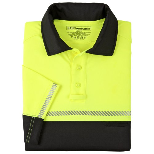 5.11 Tactical #71322 Bike Patrol Polo Short Sleeve Shirt (Reflective Yellow/Black, Large)