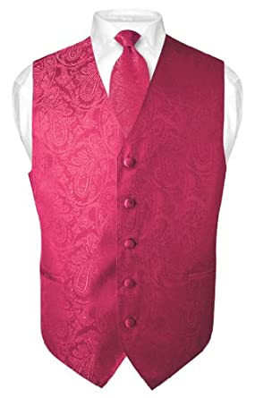 Men's Paisley Design Dress Vest NeckTie HOT PINK FUCHSIA Neck Tie Set size XXL