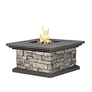 Gas fire pit table canyon ridge fire table stone for Table 52 petroleum