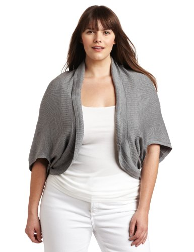 Ak Anne Klein Women's Plus-Size Cocoon Open Shrug Sweater