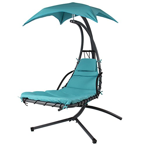 Best Choice Products® Hanging Chaise Lounger Chair Arc Stand Air Porch Swing Hammock Chair Canopy Teal