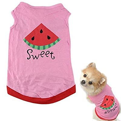 HP95(TM) New Summer Cute Small Pet Dog Puppy Cat Clothes Watermelon Printed Pink Vest